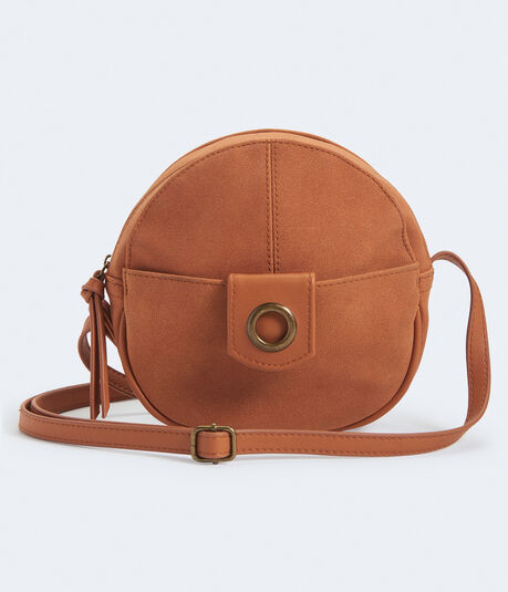 Faux Suede Canteen Crossbody Bag