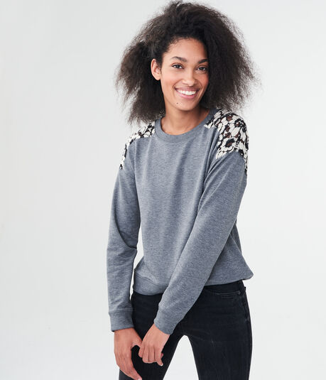 Solid Lace-Inset Sweatshirt