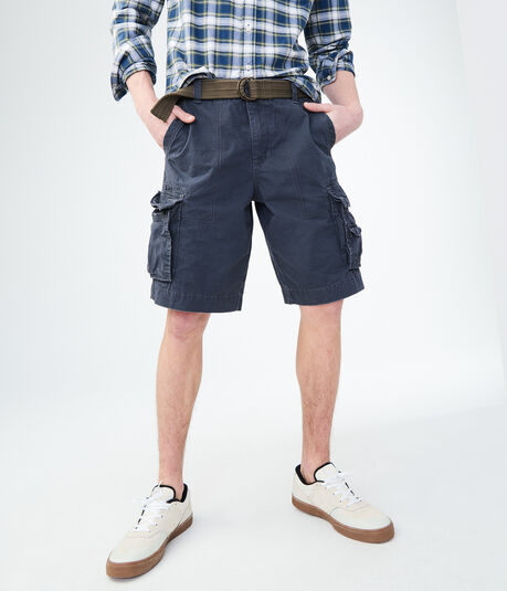 Solid Belted Cargo Shorts***