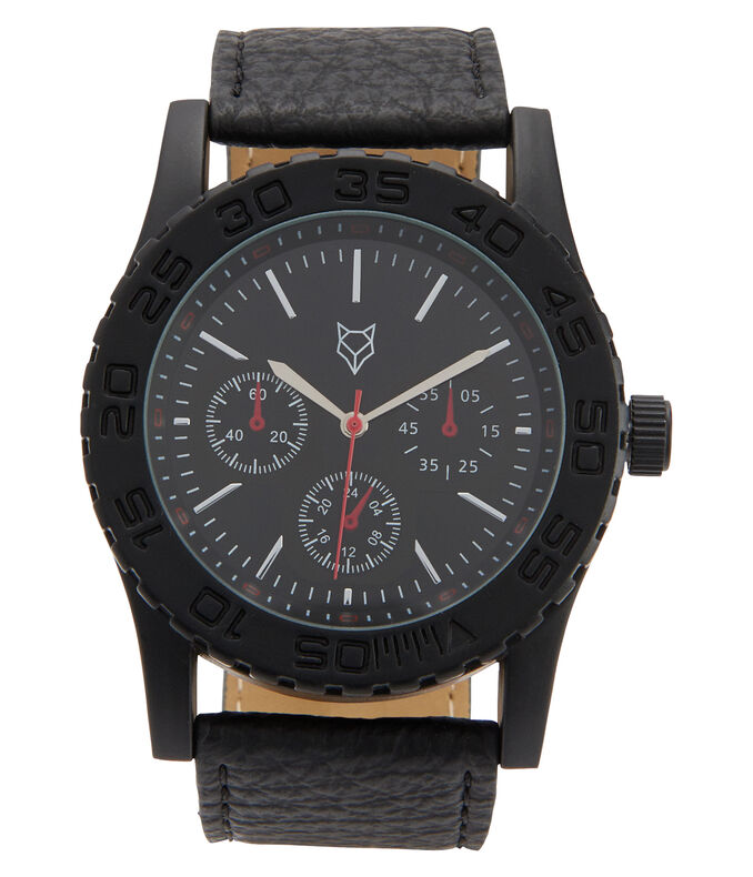 Prince & Fox Embossed Faux Leather Chrono Analog Watch