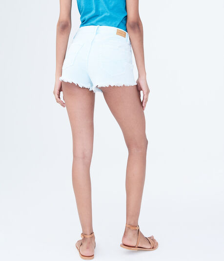 High-Waisted Neon Denim Shorty Shorts