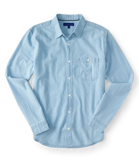 Long Sleeve Light Wash Chambray Woven Shirt