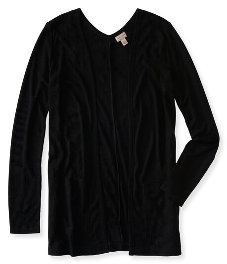 Black Open-front Cardigan