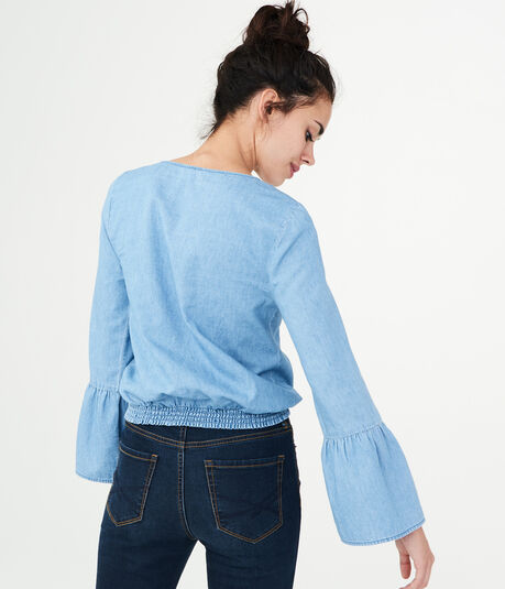 Long Sleeve Embroidered Wrap-Front Top