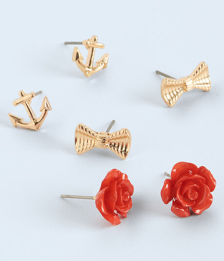 Anchor Stud Earring 3-Pack