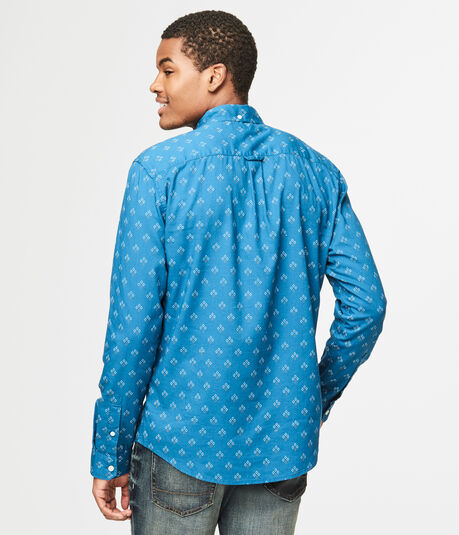 Long Sleeve Diamond Print Woven Shirt