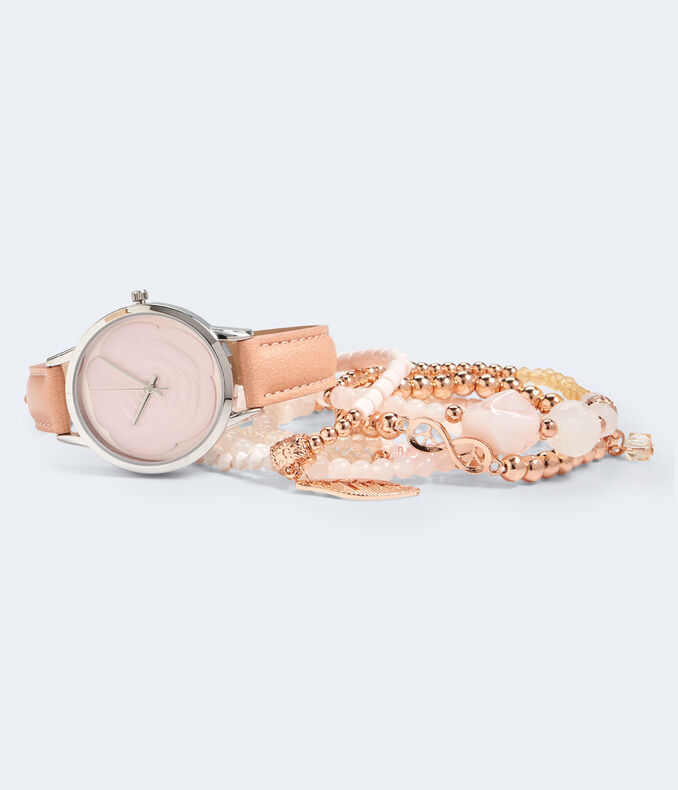 Faux Leather Rose Analog Watch & Bracelet Set