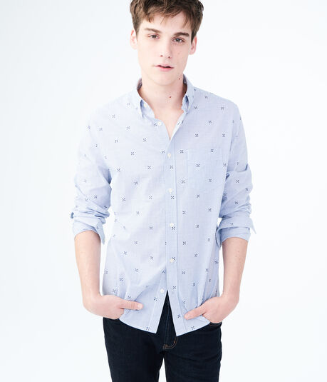 Long Sleeve X Print Windowpane Woven Shirt