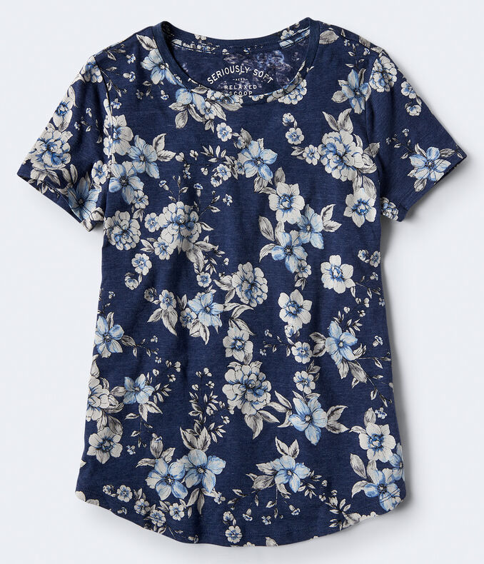 Seriously Soft Floral Scoop-Neck Relaxed Tee