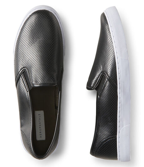 Perforated Faux Leather Slip-On Shoe