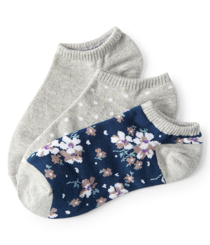 3-Pack Polka Dot, Floral & Solid Ankle Socks