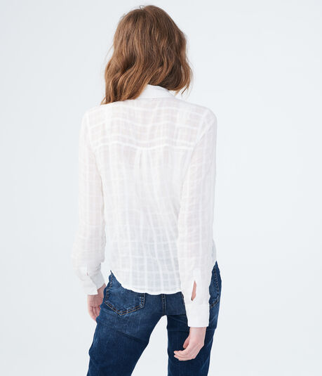 Long Sleeve Sheer Plaid Tie-Front Woven Shirt