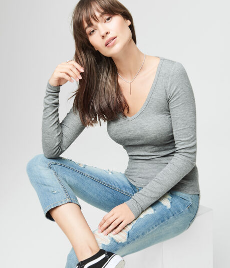 Final Sale -Long Sleeve Seriously Soft Ribbed V-Neck Tee