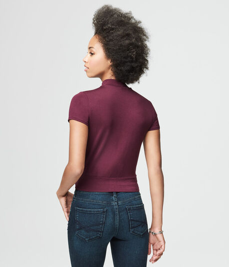 Wrap-Front Mock-Neck Top