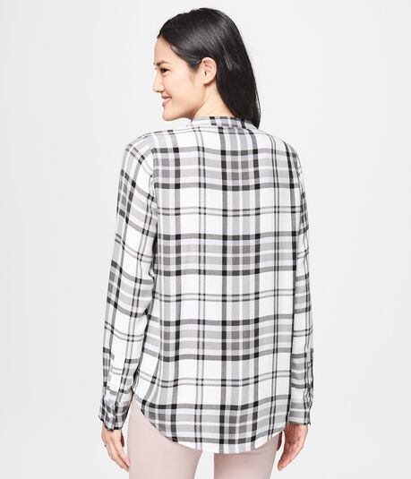 Long Sleeve Lace-Up Plaid Top