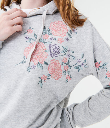 Rose Embroidered Pullover Hoodie
