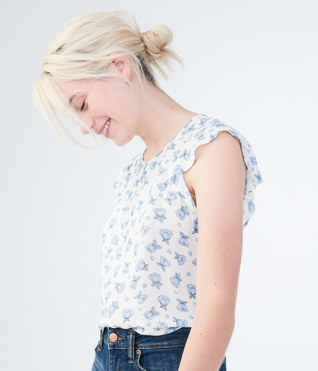Floral Ruffle Tank