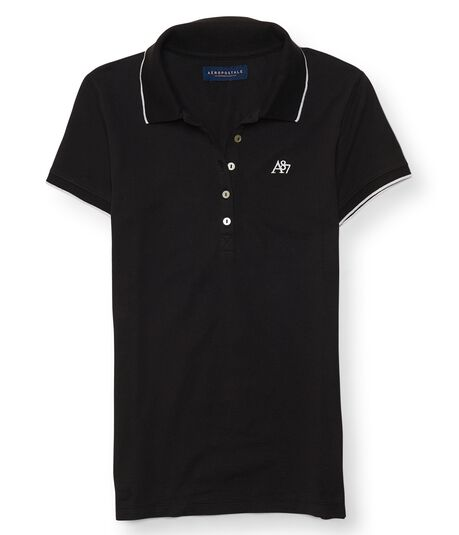 A87 Solid Tipped-Collar Pique Polo