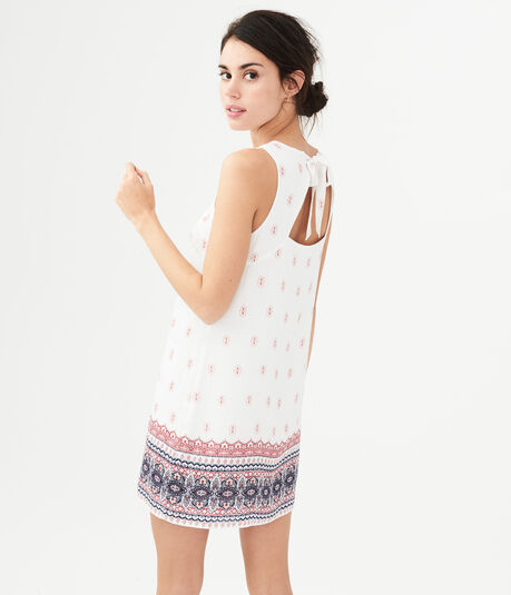 Boho Print Tie-Back Shift Dress
