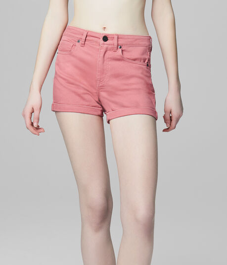 Seriously Stretchy High-Waisted Color Wash Denim Midi Shorts