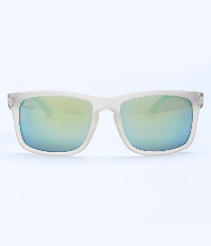 Mirrored Lens Clear D-Frame Sunglasses