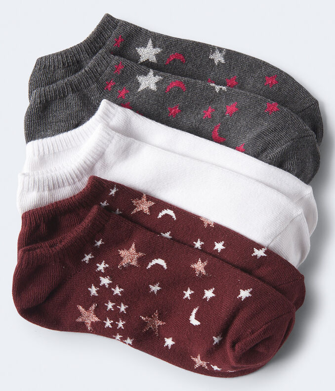 3-Pack Celestial Star & Solid Ankle Socks