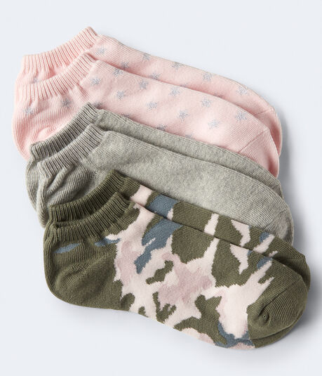 3-Pack Stars, Solid & Camo Ankle Socks