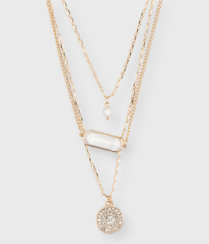 Pavé Layered Short-Strand Necklace