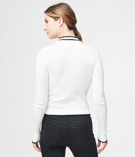 Tipped Mock-Neck Sweater