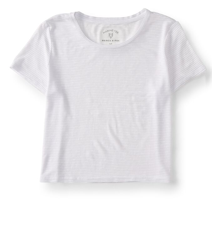 Final Sale -Cape Juby Solid Shadow Stripe Cropped Tee
