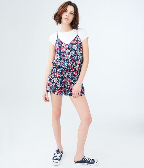 Floral V-Neck Button-Front Romper