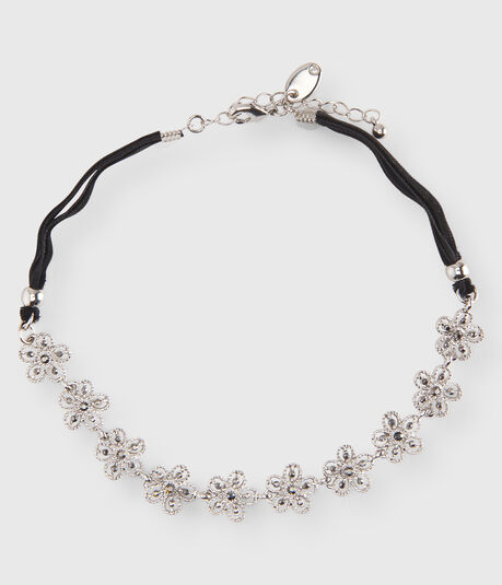 Jeweled Flower Short-Strand Choker Necklace