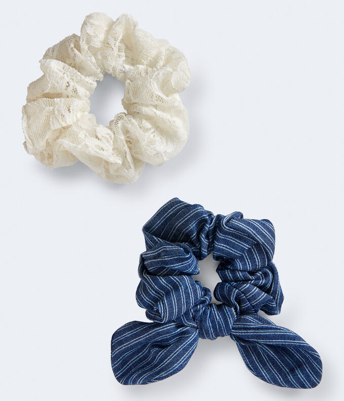 Lace & Denim Scrunchie 2 Pack by Aeropostale