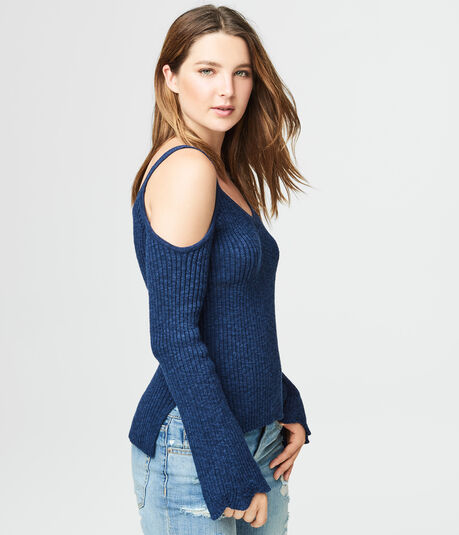 Bell Sleeve Ribbed Cold-Shoulder Sweater