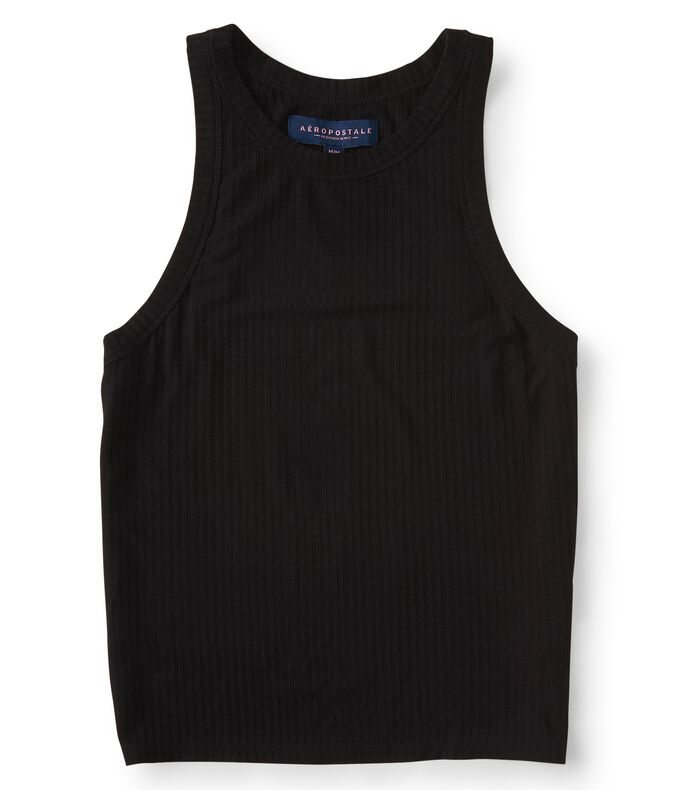 Solid Ribbed High-Neck Bodycon Top