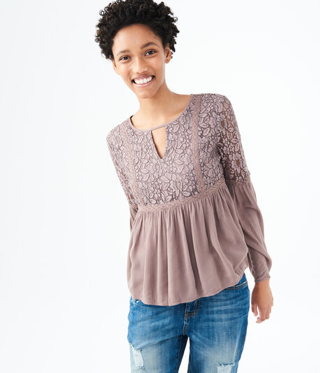 Long Sleeve Lace Peasant Top