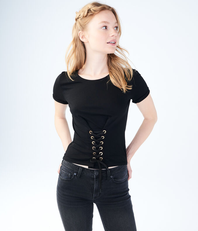 Solid Corset-Front Tee