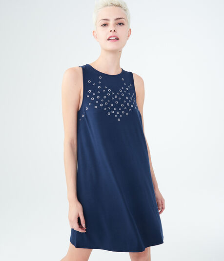 Solid High-Neck Grommet Swing Dress