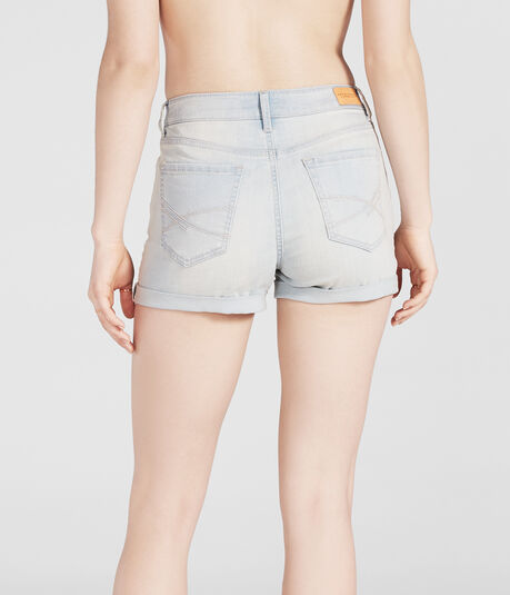 High-Waisted Light Wash Cuffed Denim Midi Shorts