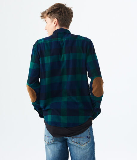 Long Sleeve Black Watch Plaid Flannel Woven Shirt