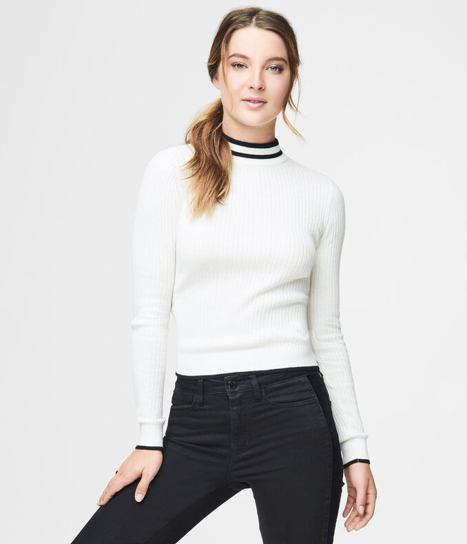 Final Sale -Tipped Mock-Neck Sweater