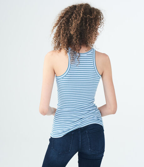 Striped Ribbed High-Neck Tank
