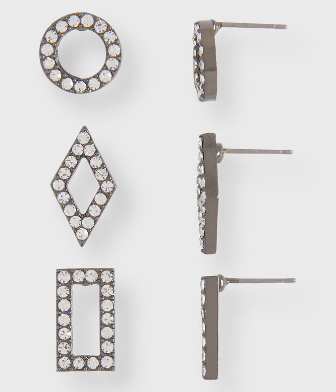 Geometric Pavé Stud Earring 3-Pack
