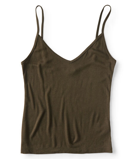 Solid Ribbed V-Neck Cami