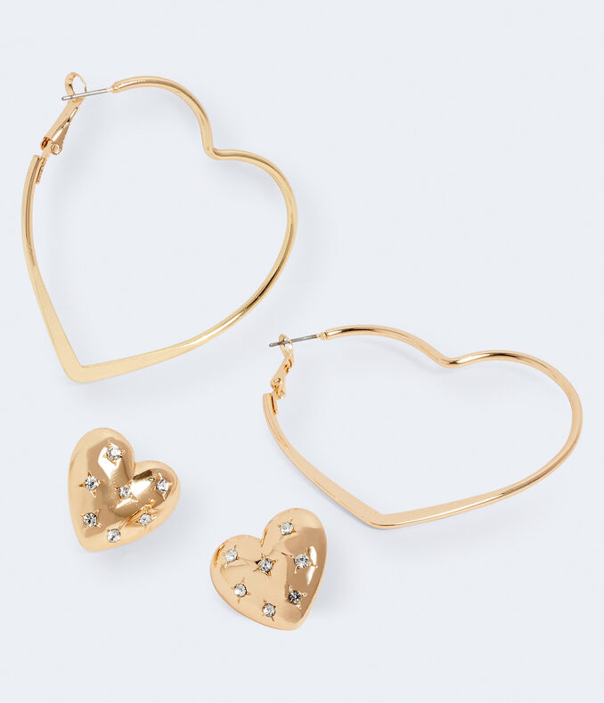 Heart Stud & Hoop Earring 2-Pack