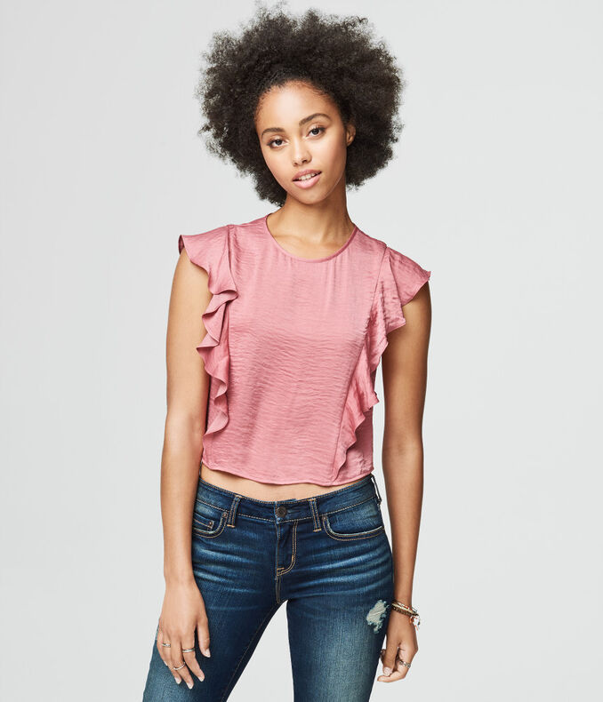 Solid Ruffle-Sleeve Crop Top