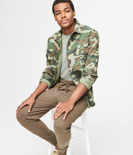 Long Sleeve Camo Stretch Woven Overshirt