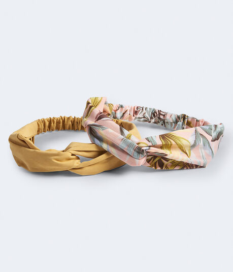 Hawaiian Flower & Solid Twist Headband 2-Pack