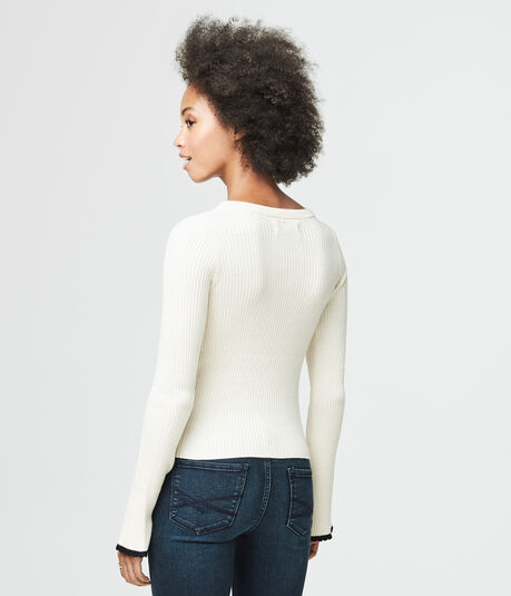 Solid Ribbed Bell-Sleeve Sweater