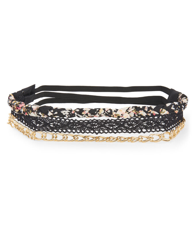 Lace, Floral & Chain Headband 3-Pack